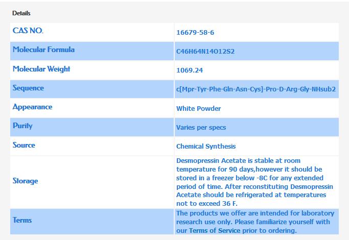 Spec Sheet: Desmopressin Acetate Molecular Formula